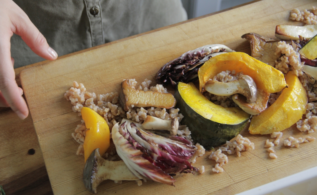 Roasted Squash & Mushrooms WITH FARRO