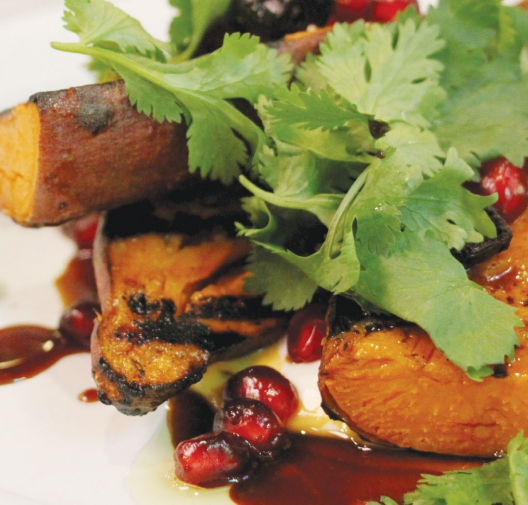 SWEET POTATOES with Pomegranate & Labneh