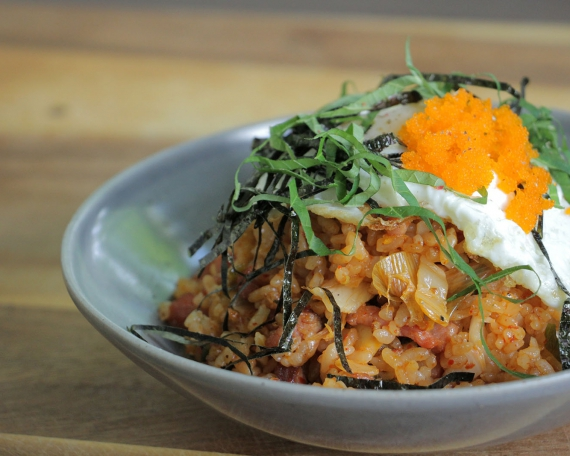 Kimchi Fried Rice with Sesame Leaves & Seaweed